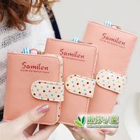 free shipping 2014 new fashion cute Polka Dot multi-card bit long wallet sweet retro short paragraph women wallets