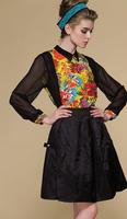 Print Silk chiffon shirt/100% silk fabric/Floral pattern blouses/Womens tops fashion 2013 OL style