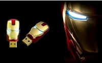 Wholesale Hot sale Fashion Avengers Iron Man LED Flash 1-128GB USB Flash 2.0 Memory Drive Stick Pen/Thumb / Free Shipping