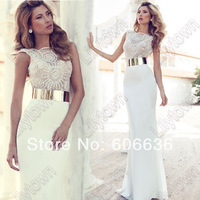 Wholesale-New 2014 Embroidery Beaded Gold Metal Belt Chiffon Julie Wedding Dresses Designer Special Occasion Dress Multi Color
