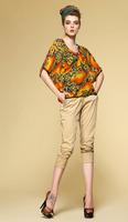 Print silk chiffon bat shirt/100% silk fabric/Floral pattern women tops/Ladies 2014 new fashion blouses