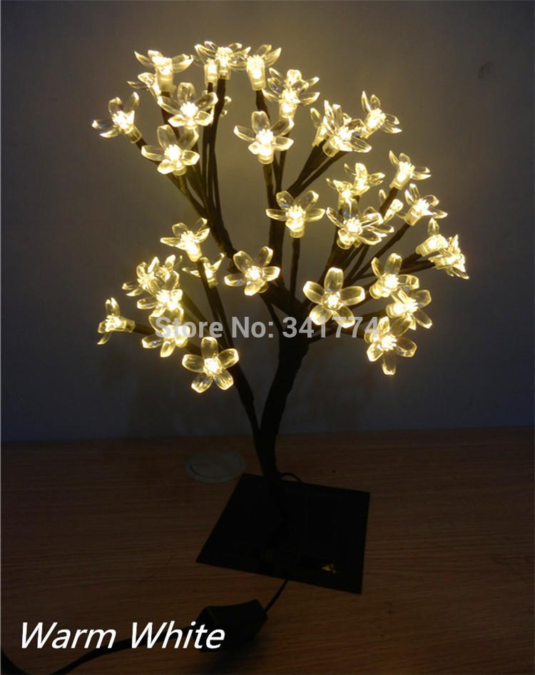 40 LED Cherry Flower Christmas Tree Night Lights Table Lamps Garland for Home Indoor Outdoor Fairy Wedding Decoration(China (Mainland))