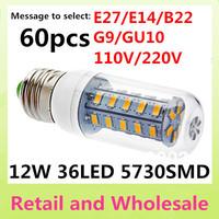 E27-5730SMD-36LED+Free Shipping+LED Corn Light Bulbs Lamps E27 B22 G9 GU10 12W Warm White/White Home Lighting 60pcs/LOT
