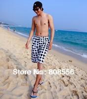 Free shipping 2014  fashion lovers beach shorts couple men/women beach black and white Lattice styles
