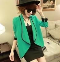 Spring Outerwear Korean Fashion Ladies 2015 Sale Cool Diamante Rivet Long Sleeve Shrug Slim Small Jacket Women Coat for winter