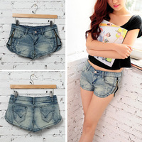 European and American Style Retro Sexy Wash Low-waist Short Sexy Denim Shorts Jeans Pants With Side Zipper S/M/L/XL