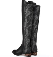 size34-39 2014 fashion women's autumn black Stretch camouflage fabric zipper genuine leather flats over-the-knee high boots 3026