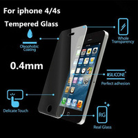 0.4mm plane Transparency Premium Tempered Glass For iPhone 4 4S With Retail Box Screen Protector Film For iphone free shipping