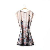 Women oriental polyester birds flower prints sashes o-neck short sleeves above knee straight dress 221729