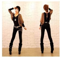 2014 spring new women chiffon blouse sexy nightclub Slim was thin stitching T-shirts