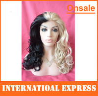 In Stock---New Synthetic braided lace front wig half black half blonde curly ponytail wigs ghost wigs holloween wigs