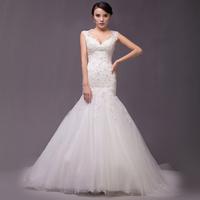 Free shipping 2015 V-neck Sexy Pearl Lace Fashion Slim Waist Mermaid Plus Size Wedding Dress Bridal Gown Vestido De Novia