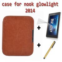 Slim magent smart cover case for 2014 nook glowlight ereader +screen protector +stylus