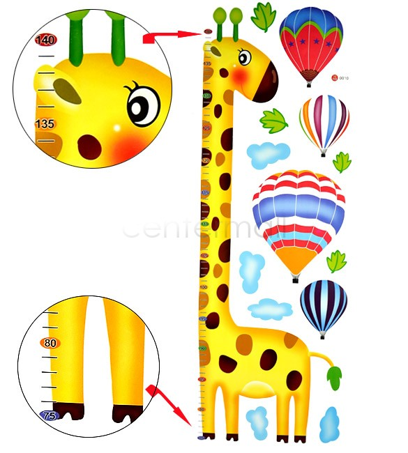 New Cartoon Giraffe Kids Growth Chart Height Measure For Home/Kids Rooms DIY Decoration Wall Stickers 72*26cm 6461(China (Mainland))
