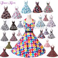 Colorful Grace Karin A-line Cotton Halter Vintage Rockabilly Retro Flower Dot Print Ball Evening Prom Party Formal Dresses J6075