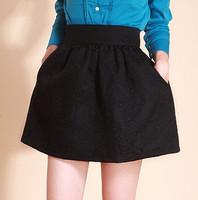 2014 New Woman Autumn Winter Puff Skirt High Waist Bust Skirt Ball Gown Short Skirts Plus Size Female Bud Skirts With Pocket