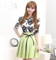 Spring Summer Women Printing Spliced Dresses Turn-down Collar Fashion Elegant Cute Slim Dress Female 512