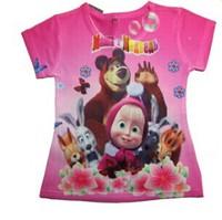 "10 Design 2014 New "" Masha and bear ""short sleeve 3D t shirts clothes Children clothing Boys Girls t-Shirt for Kids"