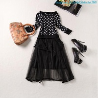 Sleeve Crew Neck shipping 2014 new European and American fashion wave point long paragraph skirts 1-6