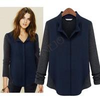 2014 New Fashion Women Cashmere Chiffon Patchwork Long Sleeve Blouses Tops Lady Shirts 19892