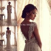 2014 New Custom Made Cap Sleeve Beaded Tulle Sleeveless Sweetheart Long Bridal Gowns Wedding Dresses