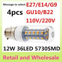 12W -B22-5730 SMD-36LED 4pcs/lot Free Shipping LED Corn Light Bulbs Lamps Warm White/White Home Lighting 110V 220V 240V