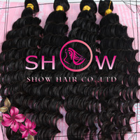 Grade 6A 10-30inch deep wave human hair weaves 3/4 pieces,Unprocessed virgin human brazilian/Cambodian hair weaves free shipping