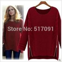 Fashion 2014 Women New Long Sleeve Pullovers Spring&Winter Zipper Knitwear Sweater Free Shipping