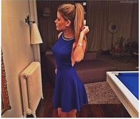 Vestidos Femininos 2014 Backless Gauze Lace Dress Floral Hallow Bandage Dress Women Summer saia renda Evening Halter Neck Y129