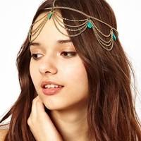 F143 bohemian head chain headpiece turquoise hair ribbon hair bands  hair ornaments metal head band bijoux hair jewellery