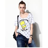 spring summer 2014 New Fashion Polka dots Short Sleeve Loose Simpson Print T-Shirt 4xl 5xl 6xl plus size women tops TS-048