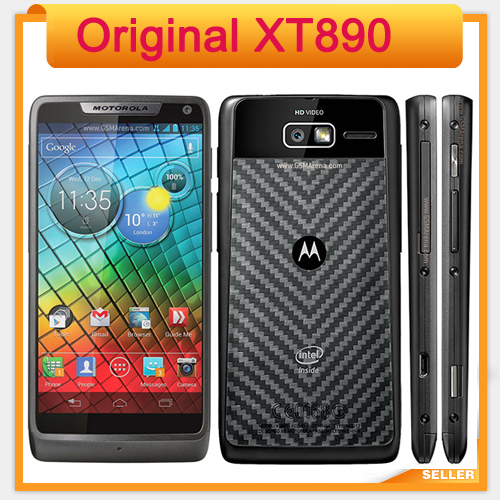 "Unlocked XT890 Original Motorola Mobile Phone Android 4.0 4.3"" Screen 8GB 8MP NFC Bluetooth 4.0 GPS 3G Cellphone Black / White("