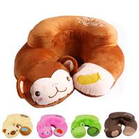 U shape nap neck pillows home car travel   pillow Cute Cartoon Monkey Pattern Design
