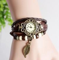 New Arrivals Genuine Leather Hand Knit copper Vintage Watches,bracelet Wristwatches Leaf Pendant 100pcs/lot for Christmas