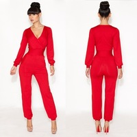 2014 new fashion sexy chic jumpsuits spring jumpsuit bandage red bule jumpsuit A classy and elegant jumpsuit