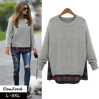 New Brand Women Plus Size Pullover T shirt Gray Loose T shirt  for Women DFWB-039
