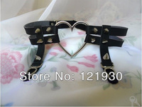 Free shipping NEW 2014 Sweetheart .double .black.PU leather rivet heart garter. elastic band to adjust size