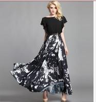 2014 New women's vintage long dress print chiffon silk dress maxi long plus size dress ruffle sleeve full length dress S-XXXL