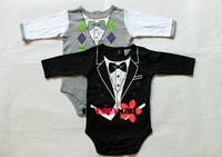 [1st baby mall] Retail 1pc Bow Tie printing gentleman long sleeve baby bodysuit original foreign baby jumpsuit newborn baby wear