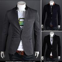 New 2014 men's clothing single button outerwear suit slim casual suits men slim fit blazer 3 Color