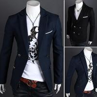 men's jacket Brand Hot fashion 2014 long blazer men,slim outdoorwear casual male suit /jacket 2 Colors XXL Wholesale&Retail