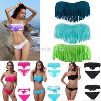 Free shipping 2014 Newest Sexy V Neck Bathing Suits Strapless Swimwear Bikini Bandage Padded Top Boho Fringe Tassels Bikini Set
