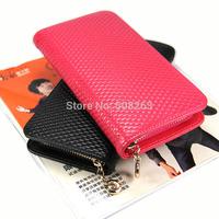 100% Genuine Leather Credit Card Long Women Wallet Solid Pocket Zipper Designer Purse High Quality DC42