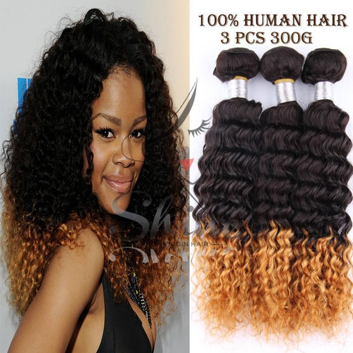 Pcs-Lot-Two-Tone-Brazilian-Kinky-Curly-Weave-Ombre-Hair jpgOmbre Brazilian Curly Weave