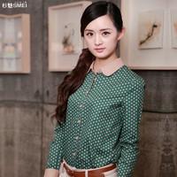 shirt female long-sleeve peter pan collar shirt polka dot casual plus size top free shipping