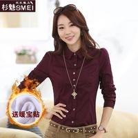 spring plus velvet plaid shirt slim basic plus size career shirt female long-sleeve free shipping