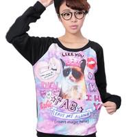Women New Harajuku Style Cute Cartoon Cat Print Sweatershirt Tops Long Sleeve Pullovers Tracksui Free&Dropshipping