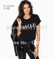 2015 fashion Ballin bronzier gold letter Monica print o neck short sleeve women's unsex t shirt big size  free shipping
