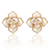 Stud earring elegant camellia sallei stud earring fashion earring women lovely stud earrings free shipping