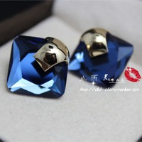 Luxury fashion high quality crystal gem blue stud earring free shipping female fashion personality earring banquet